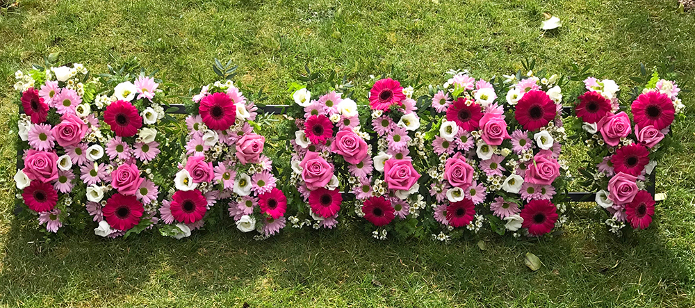 Floral letters create by family with help from us
